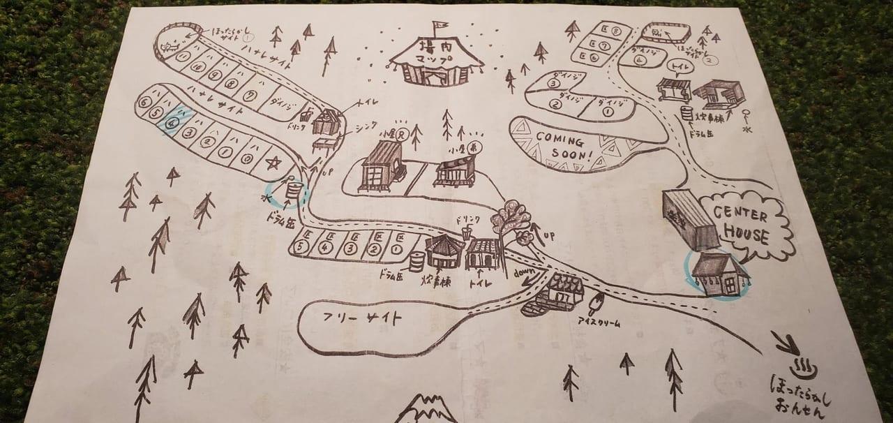 ほったらかしキャンプ場の案内図