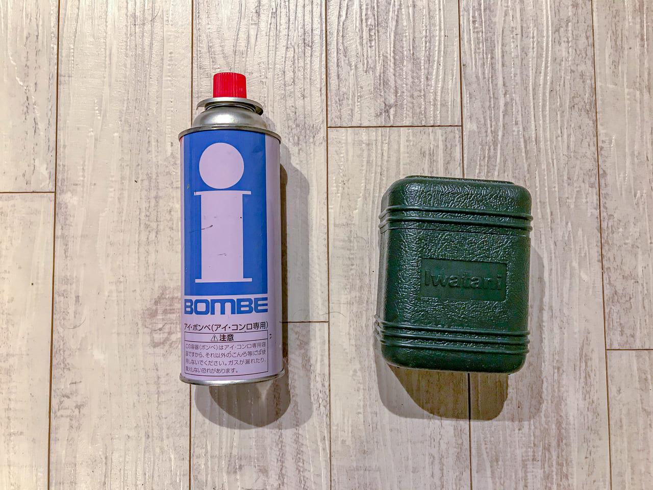 /ガス缶とイワタニのジュニアガスバーナー
