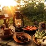 キャンプ飯はアラビアータと焼き鳥