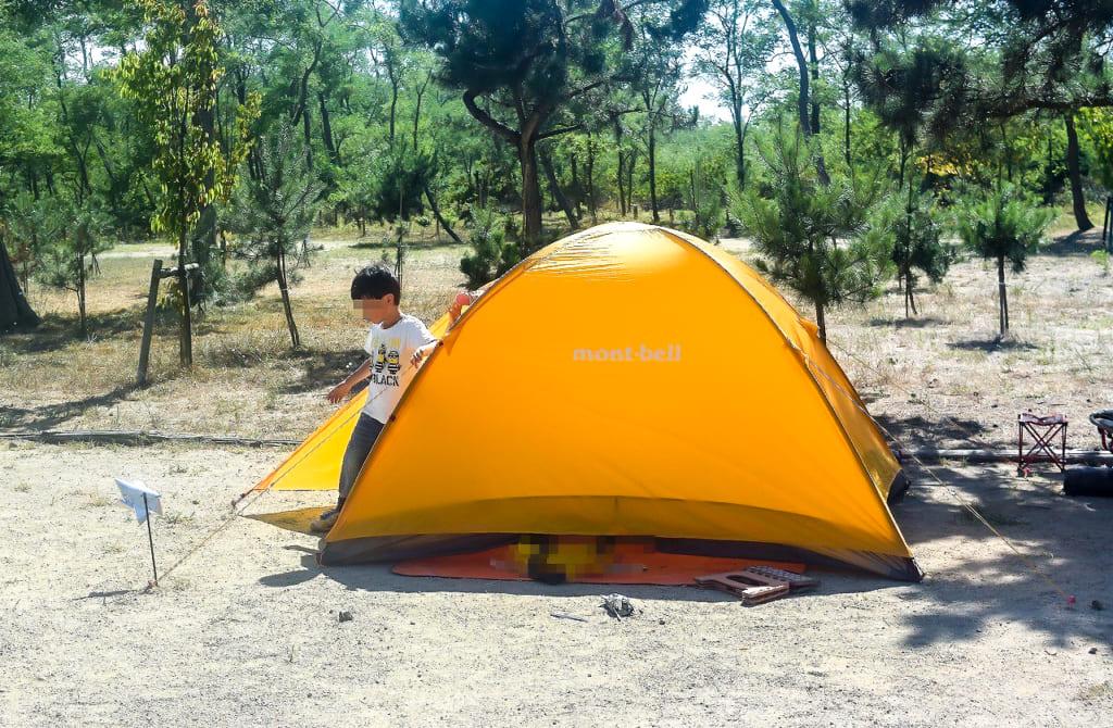 テントから出てくる子供-1024x670