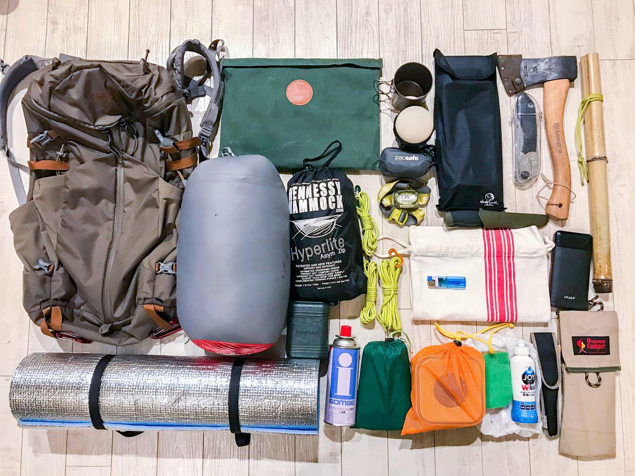 バックパック一つのキャンプ装備リスト