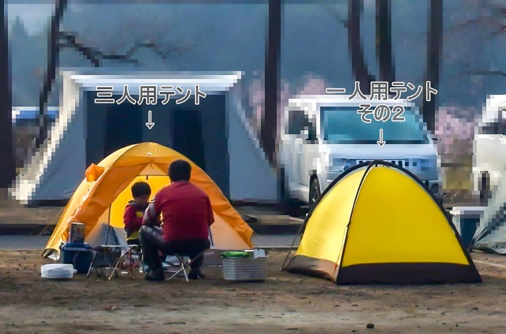 一人用テントと三人用テントのダブル張り-1024x677