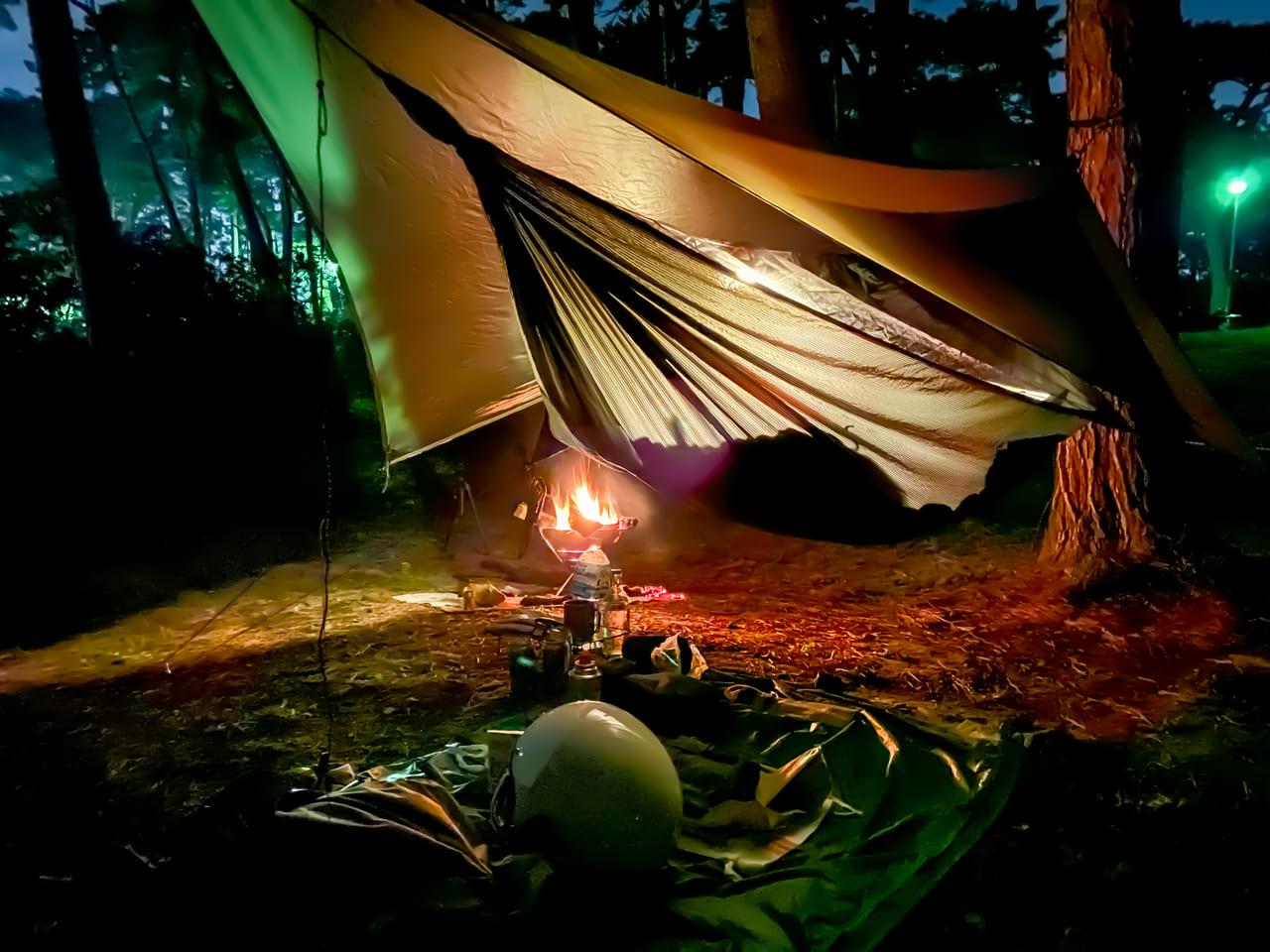 大洗キャンプ場でハンモック泊した夜