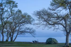 湖畔でキャンプ