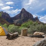自然の中でキャンプ