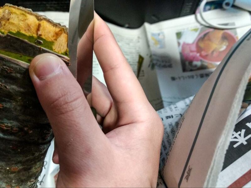 ナイフで木の皮を剥こうとしているところ