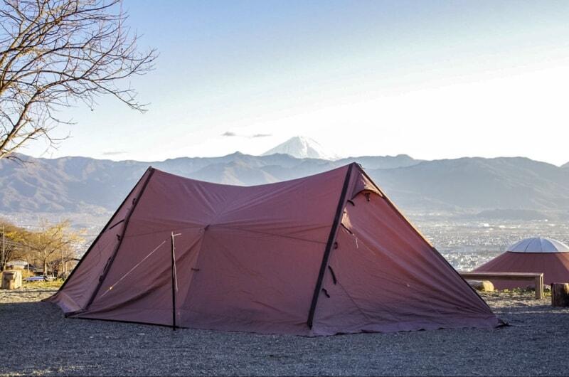 冬キャンプは空気が澄んでいて富士山が見える