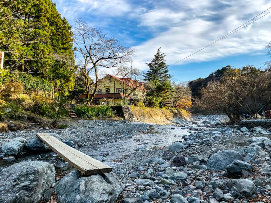 滝沢園キャンプ場の一本橋-1024x768