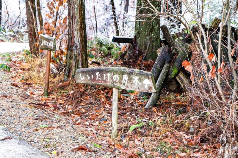 N.A.O.明野高原キャンプ場のしいたけの原木の看板