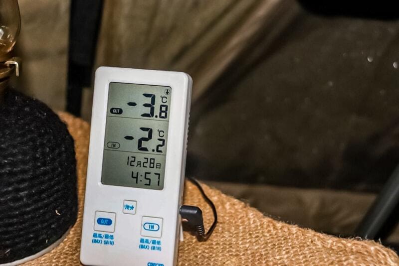 N.A.O.明野高原キャンプ場の12月の気温は-4℃
