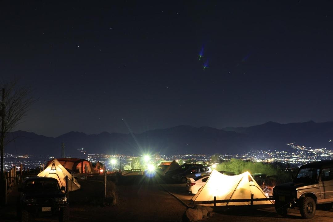 ほったらかしキャンプ場の区画サイトの夜