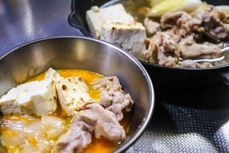 スキレットで作る豚すき焼き