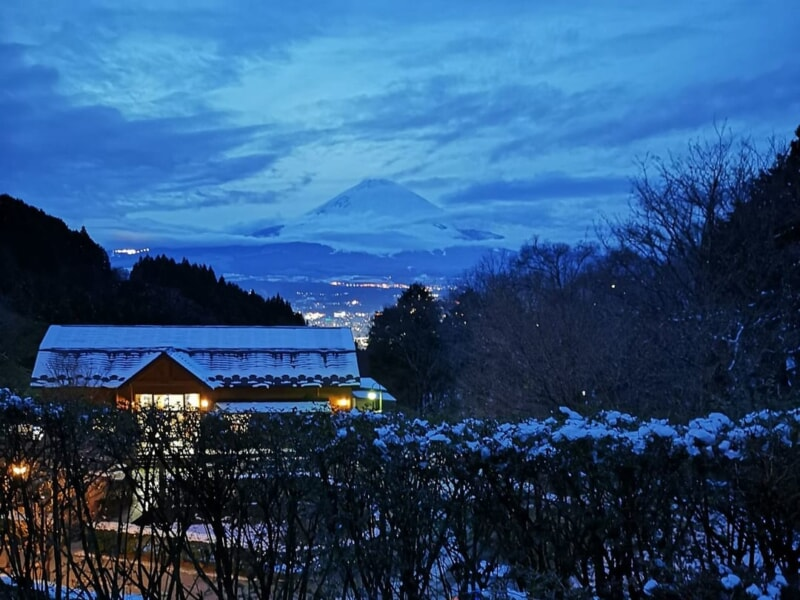 乙女森林公園第2キャンプ場の貸し切りファミリーキャンプで冬の富士山と夜景を堪能!