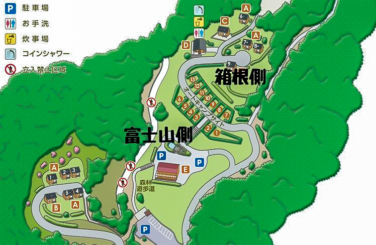 乙女森林公園第2キャンプ場のサイトマップ