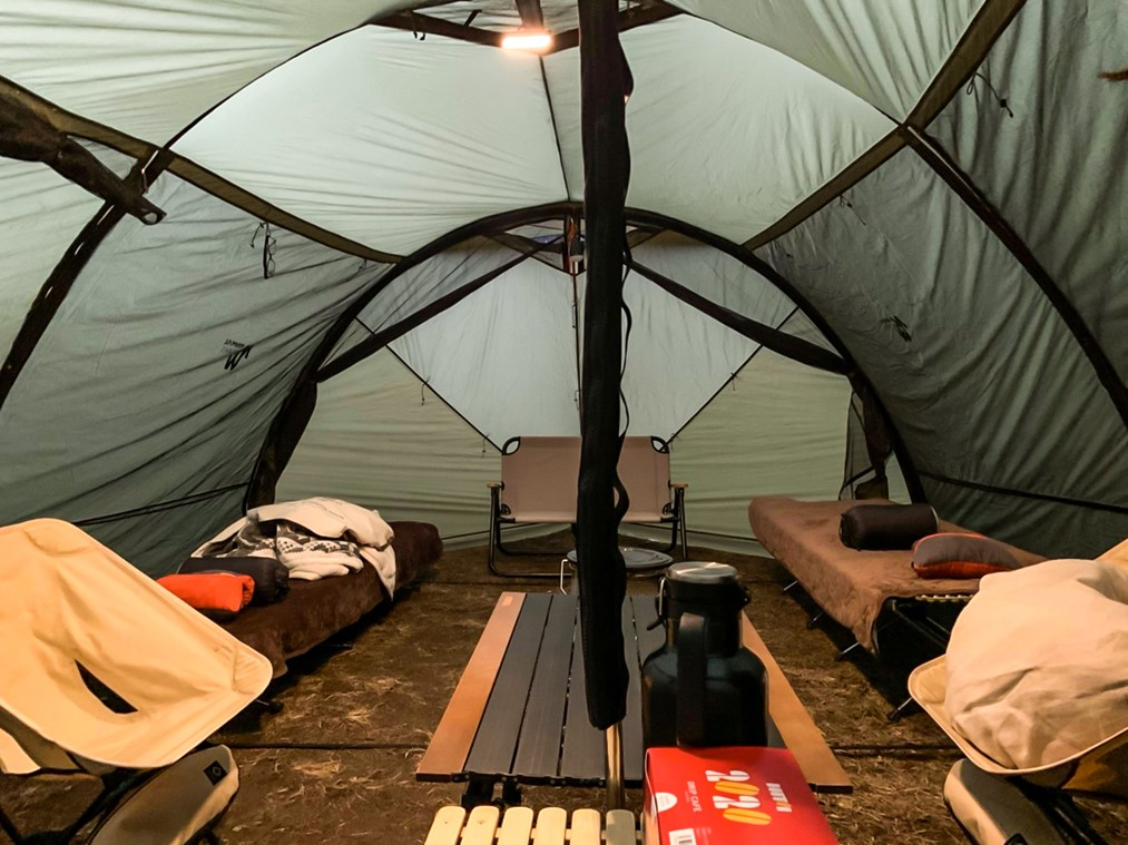 冬キャンプでも快適な寝室
