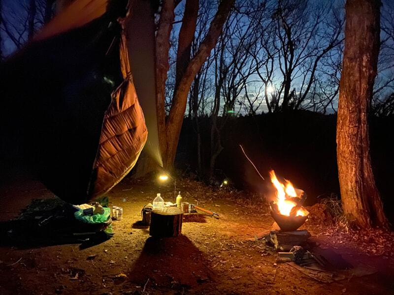 勝古沢キャンプ場で冬のハンモック泊