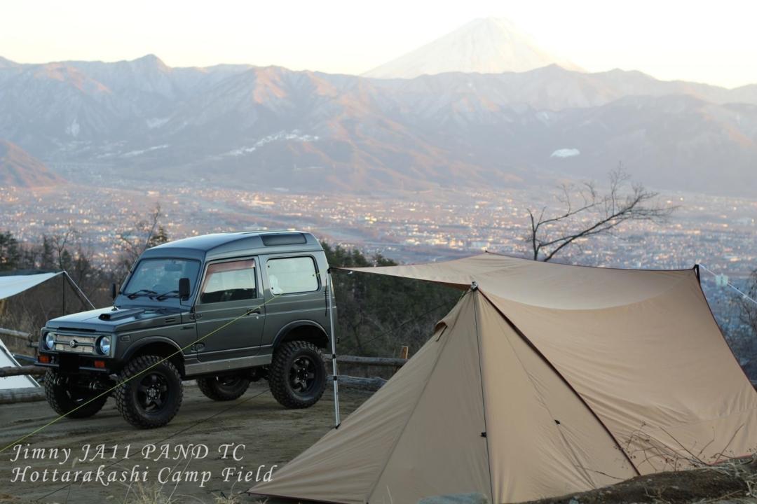 夕焼け富士とテントとジムニー