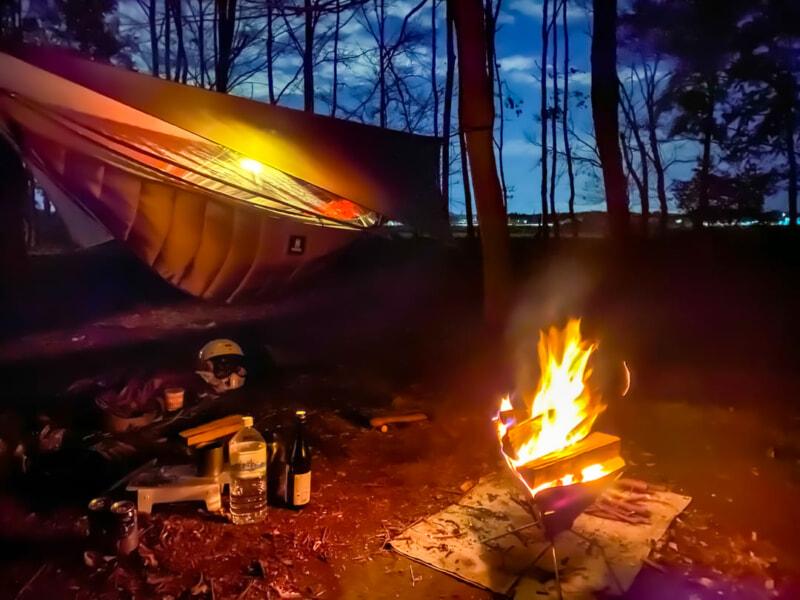 豊里ゆかりの森でソロキャンプ