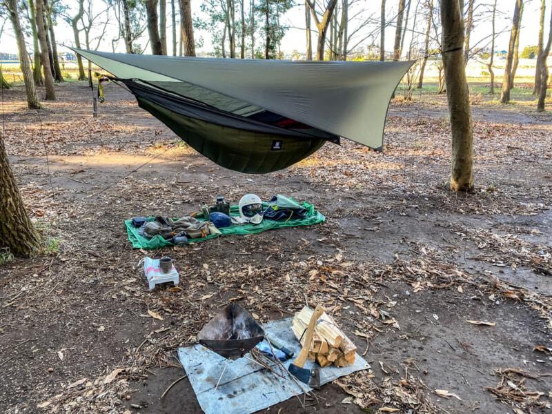 豊里ゆかりの森キャンプ場でのハンモック泊準備完了
