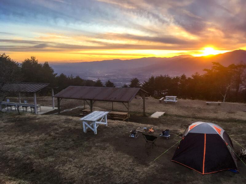 陣馬形山キャンプ場の夕日