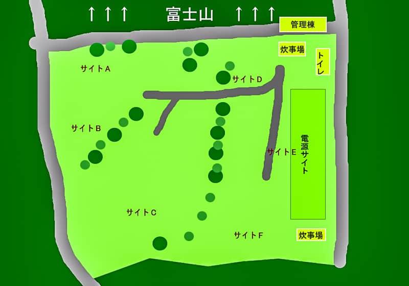 やまぼうしオートキャンプ場のサイトマップ