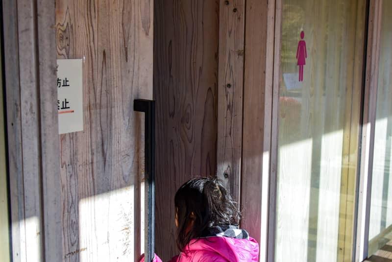 トイレの扉を開けて中の様子をのぞき込む子供