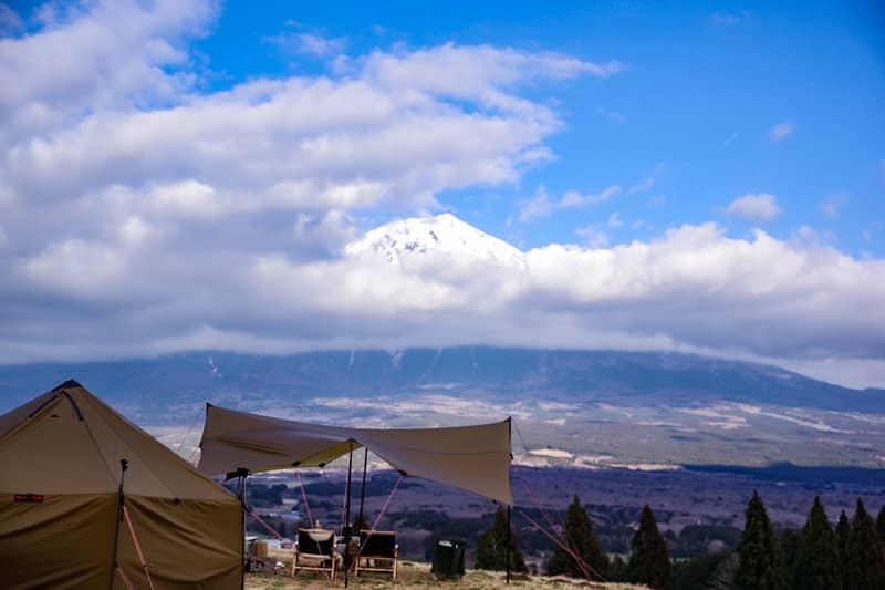 富士山を一望できる広大なフリーサイト