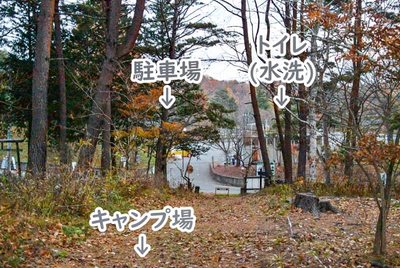 市民の森キャンプ場から見た駐車場とトイレの位置関係