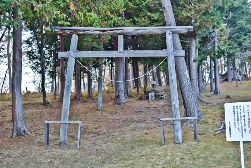 市民の森キャンプ場に祭られている山神様