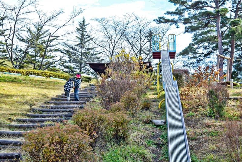 市民の森公園の滑り台で遊ぶ兄妹