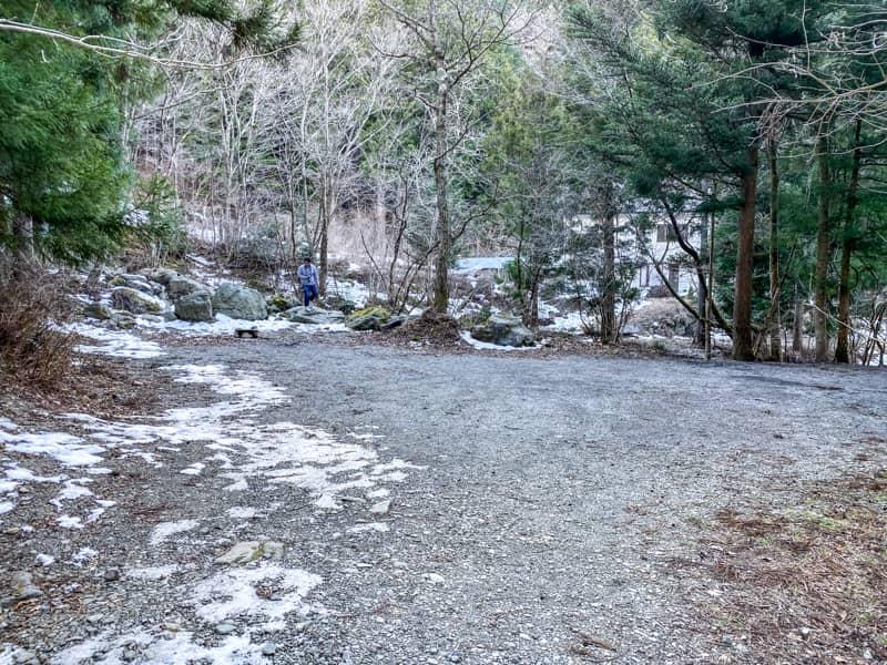 椿荘オートキャンプ場の南の森の一番奥にある広いサイト