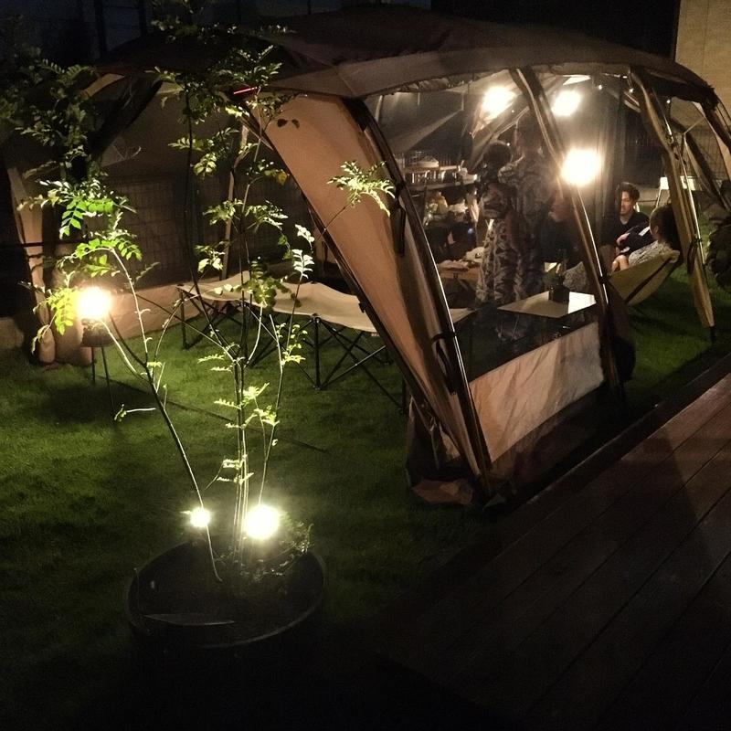夜の庭キャンプ