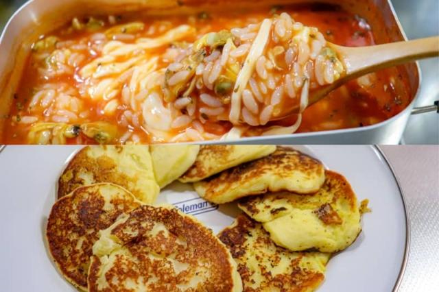 【ふたりソロキャンプ料理レシピVol.2】あさりのトマトリゾットとチーズポテトパンケーキ