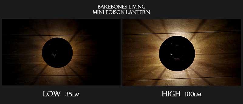 ベアボーンズリビングミニエジソンランタンの明るさ真上比較