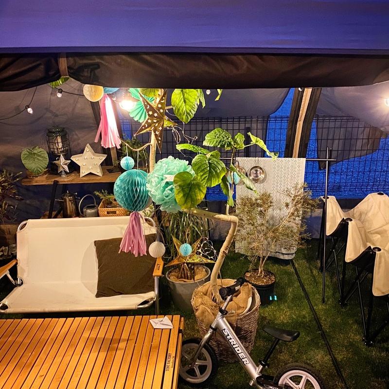 夏らしいテント内コーディネート (1)