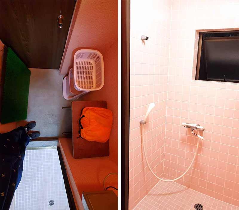 奥道志オートキャンプ場のシャワー室の中