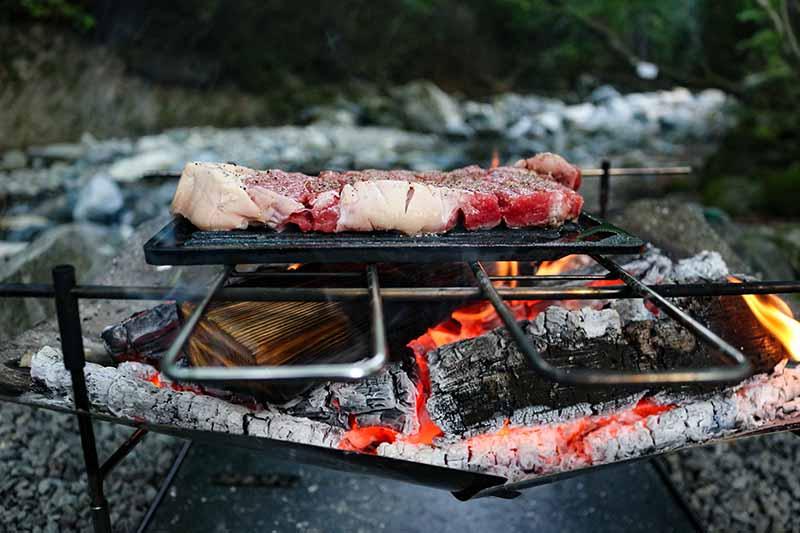 焚き火台で焼くステーキ肉