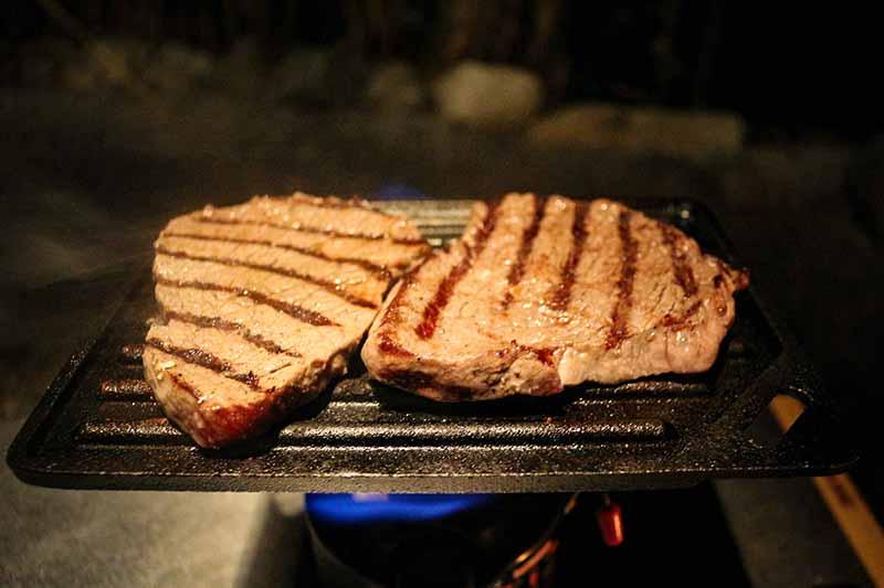 男前グリルプレートの焼き目と肉