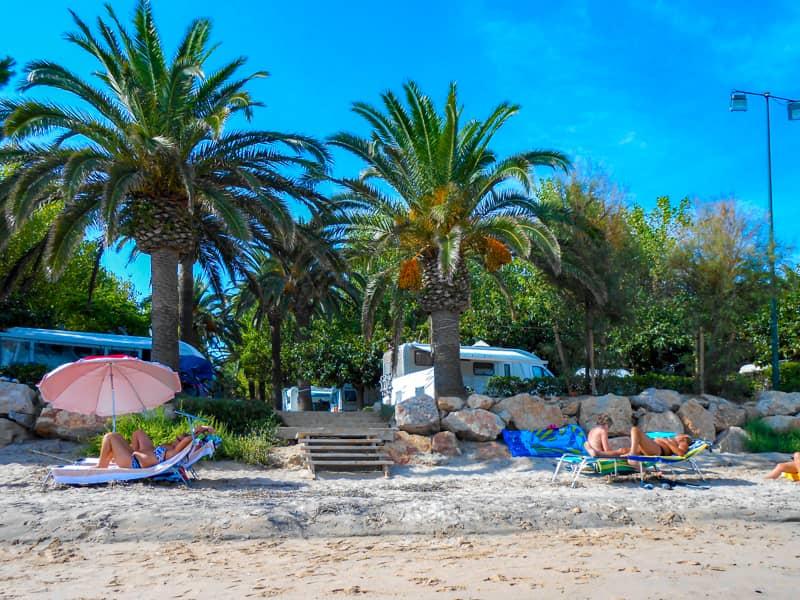 砂浜から見たキャンプ場