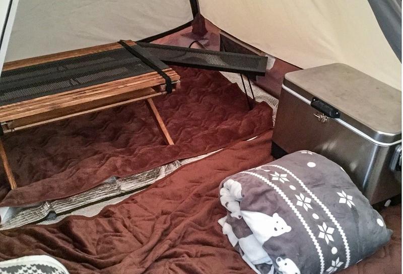 テント内に用意されたブランケット