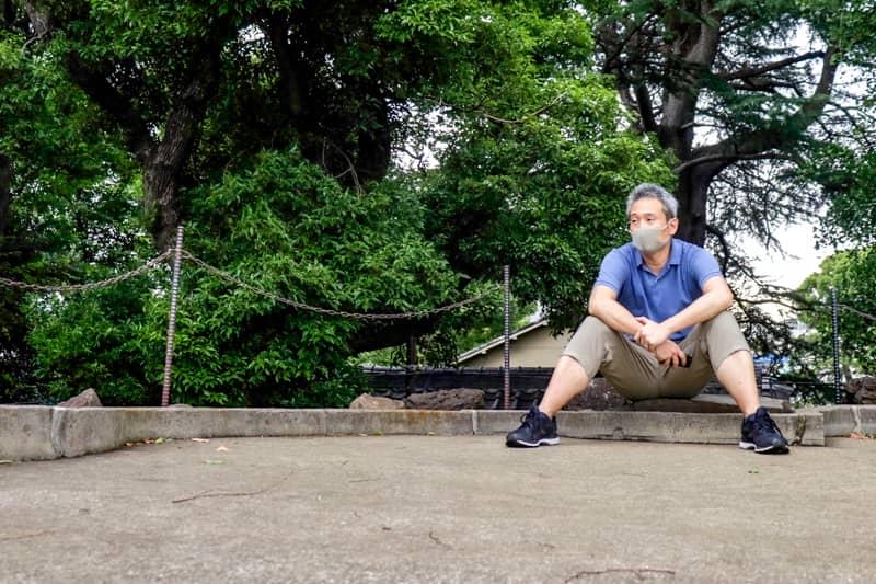 品川富士の頂上にて著者近影