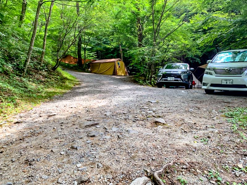 キャンプ場内の通路がワイルドすぎる