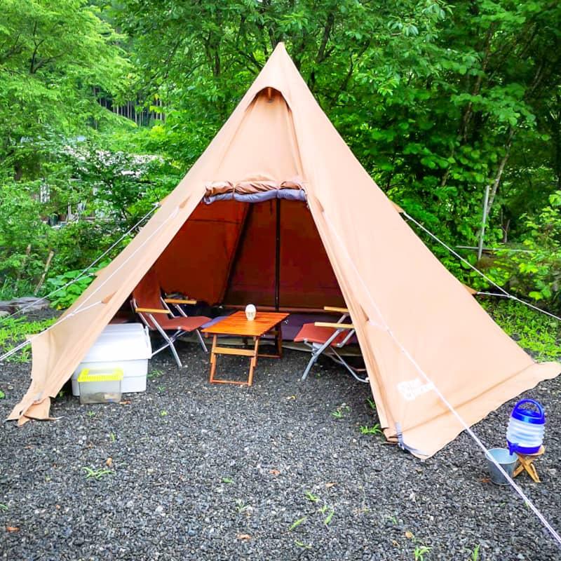 テントファクトリーTCワンポールテントの設営撤収方法とキャンプスタイル別レイアウトを紹介