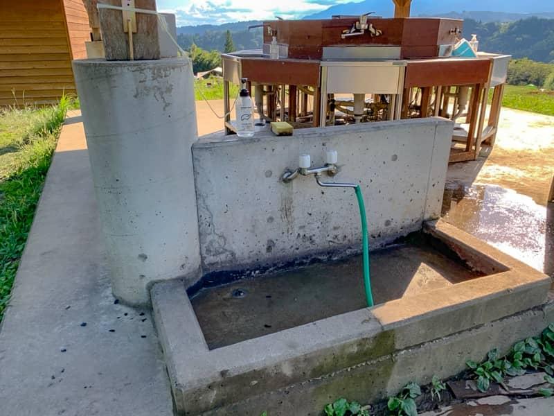 網を洗う専用の洗い場