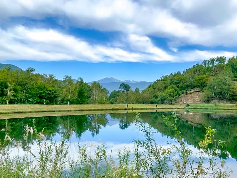 乗鞍岳とフィールドが調和した眺望