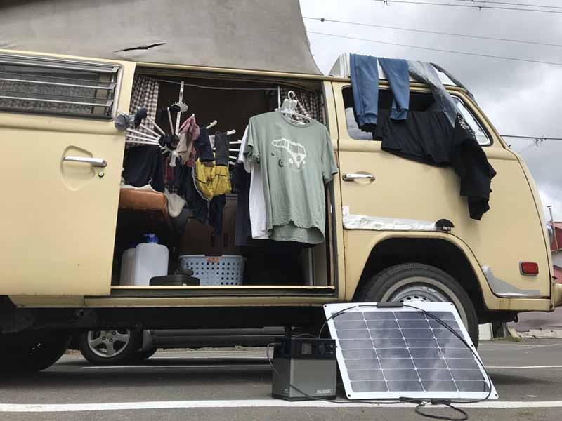 車中泊と洗濯物