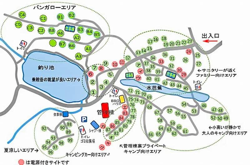 高ソメキャンプ場マップ