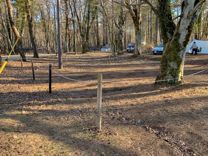 サイト同士は木の柵とロープで区切られていて