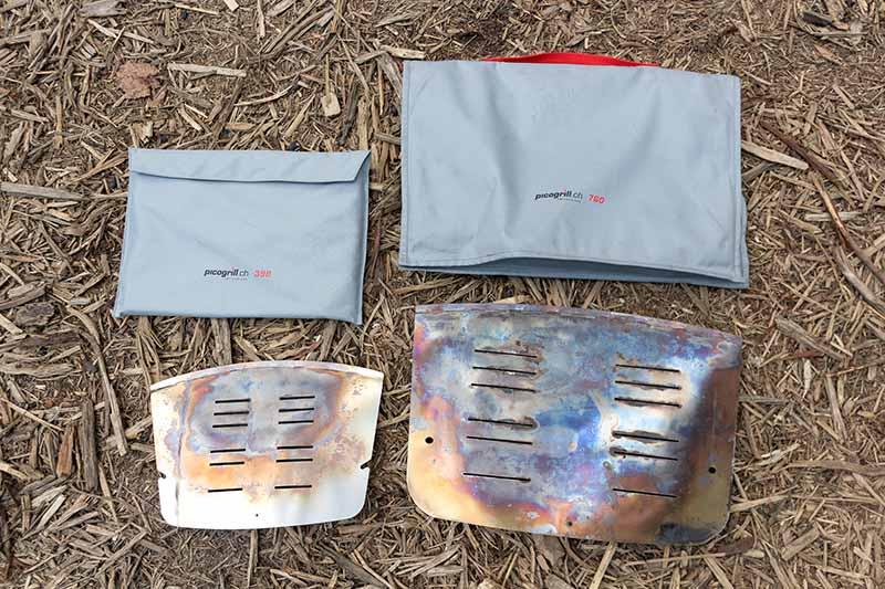 ピコグリル398とピコグリル760の収納袋と火床正面
