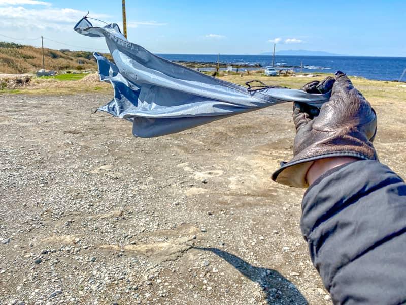 お台場海浜庭園キャンプ場の強風の様子